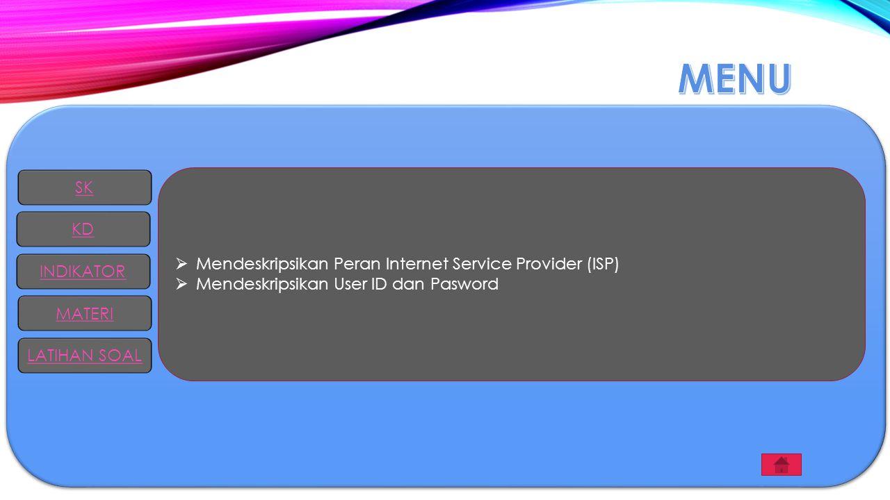 MENU SK Mendeskripsikan Peran Internet Service Provider (ISP) KD