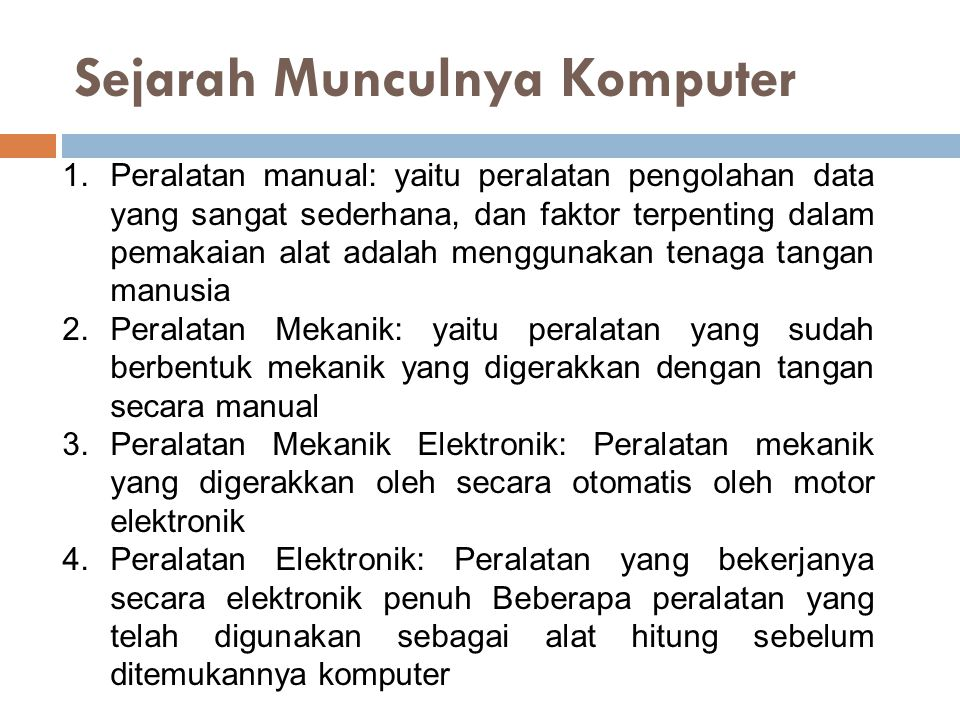 Sejarah Munculnya Komputer