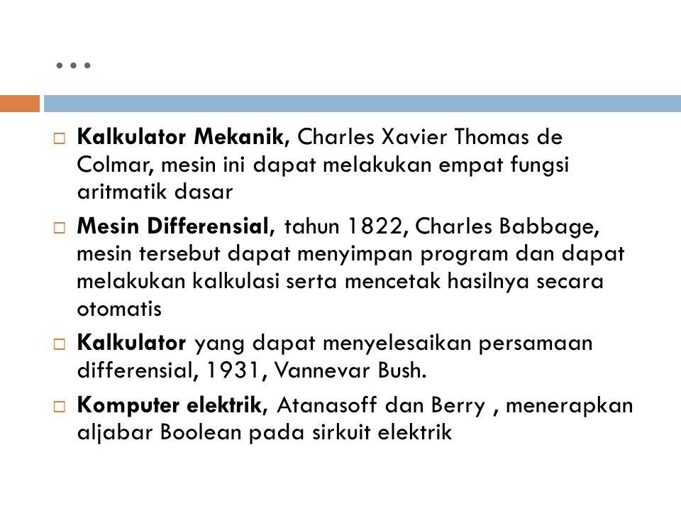 … Kalkulator Mekanik, Charles Xavier Thomas de Colmar, mesin ini dapat melakukan empat fungsi aritmatik dasar.