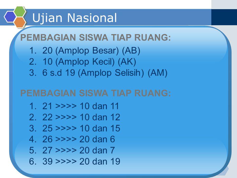 Ujian Nasional PEMBAGIAN SISWA TIAP RUANG: 20 (Amplop Besar) (AB)