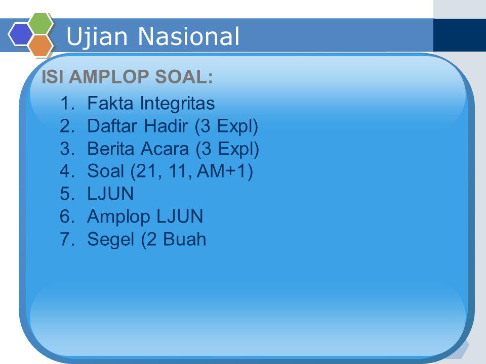 Ujian Nasional ISI AMPLOP SOAL: Fakta Integritas Daftar Hadir (3 Expl)