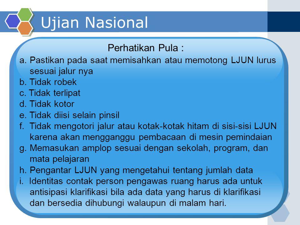 Ujian Nasional Perhatikan Pula :