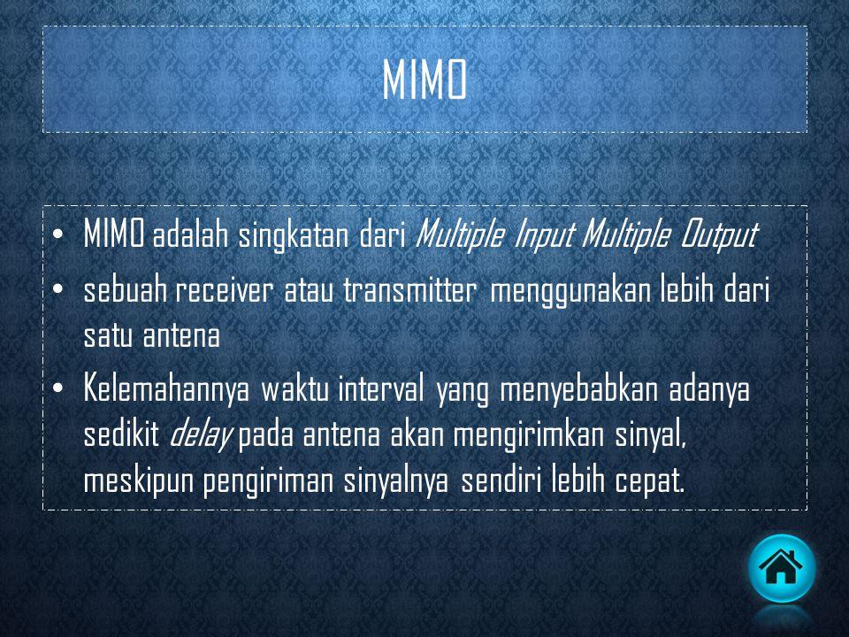 MIMO MIMO adalah singkatan dari Multiple Input Multiple Output