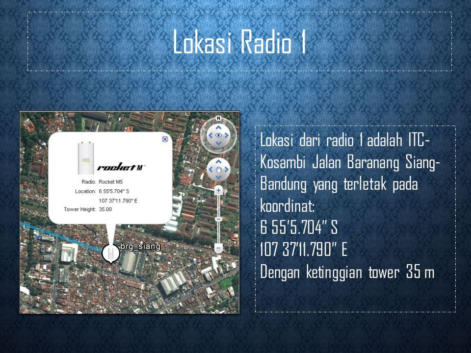 Lokasi Radio 1 Lokasi dari radio 1 adalah ITC-Kosambi Jalan Baranang Siang-Bandung yang terletak pada koordinat: