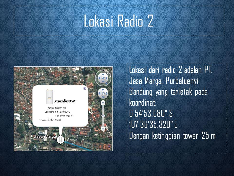 Lokasi Radio 2 Lokasi dari radio 2 adalah PT. Jasa Marga, Purbaluenyi Bandung yang terletak pada koordinat: