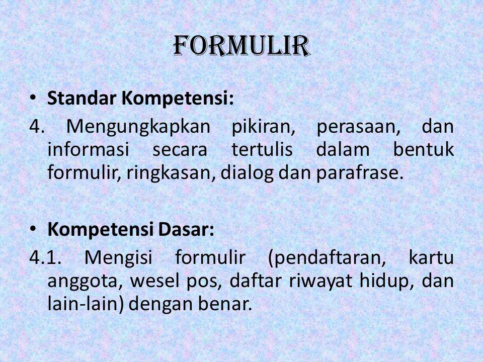 formulir Standar Kompetensi:
