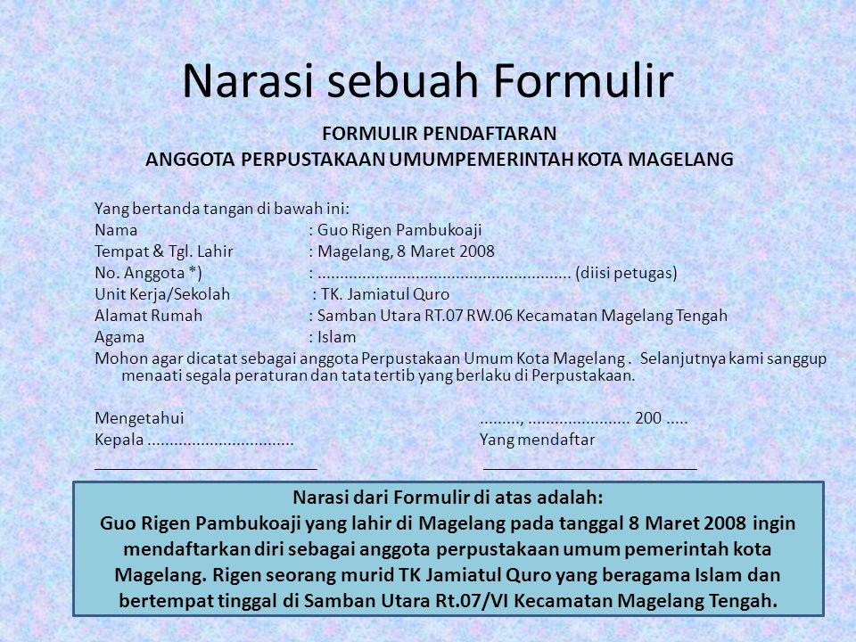 Narasi sebuah Formulir