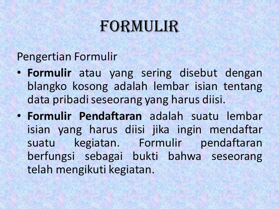 formulir Pengertian Formulir