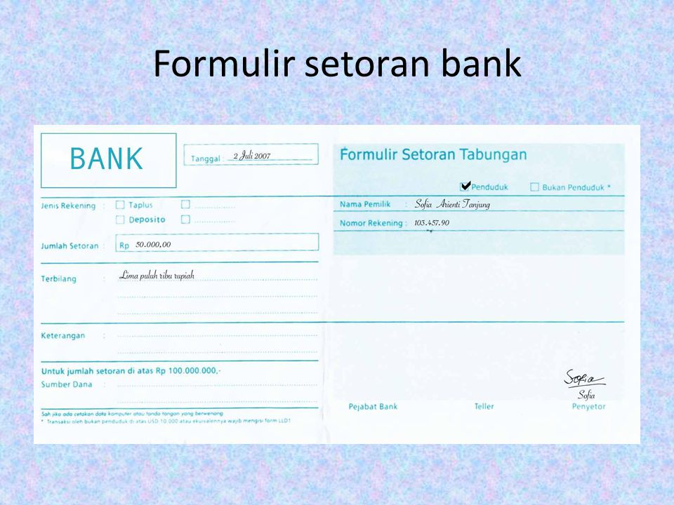 Formulir setoran bank