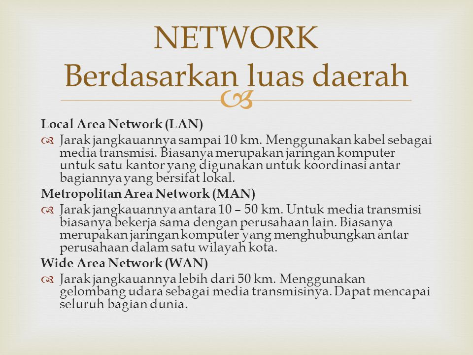 NETWORK Berdasarkan luas daerah