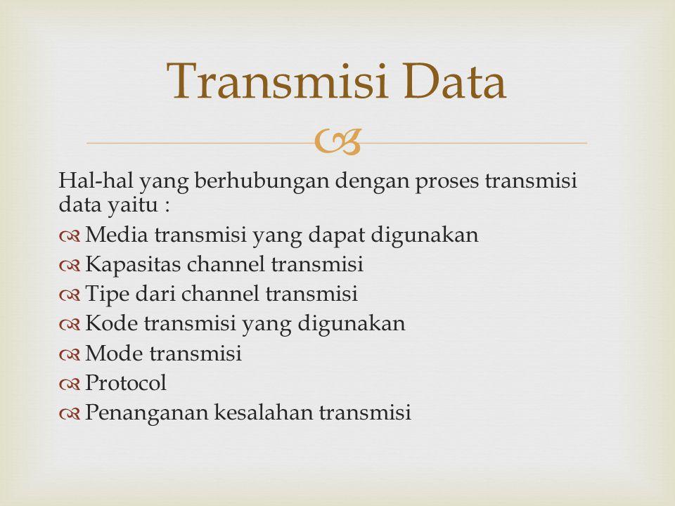 Transmisi Data Hal-hal yang berhubungan dengan proses transmisi data yaitu : Media transmisi yang dapat digunakan.