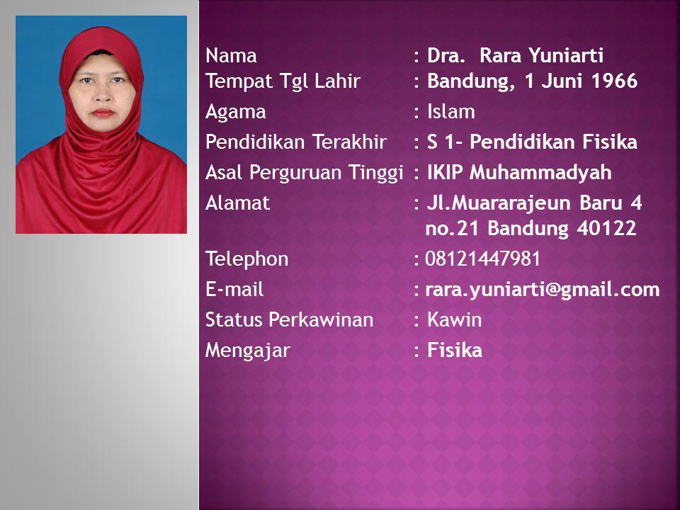 Nama : Dra. Rara Yuniarti Tempat Tgl Lahir : Bandung, 1 Juni 1966