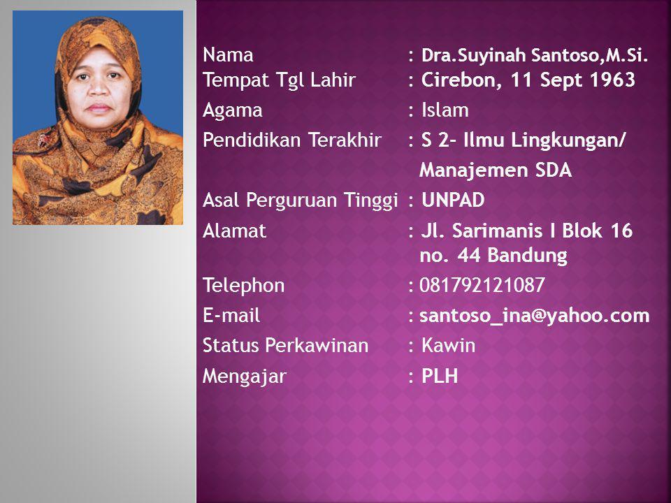 Nama. : Dra. Suyinah Santoso,M. Si. Tempat Tgl Lahir