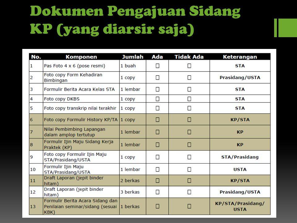 Dokumen Pengajuan Sidang KP (yang diarsir saja)