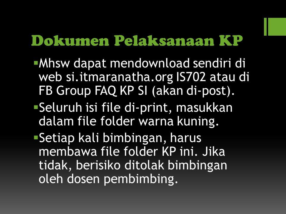 Dokumen Pelaksanaan KP