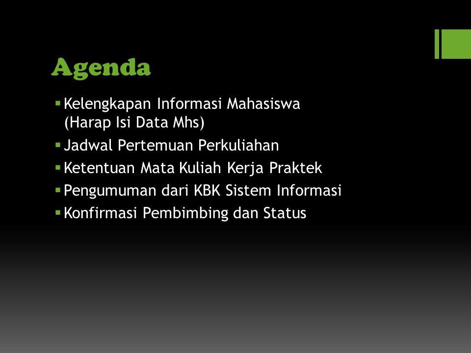 Agenda Kelengkapan Informasi Mahasiswa (Harap Isi Data Mhs)