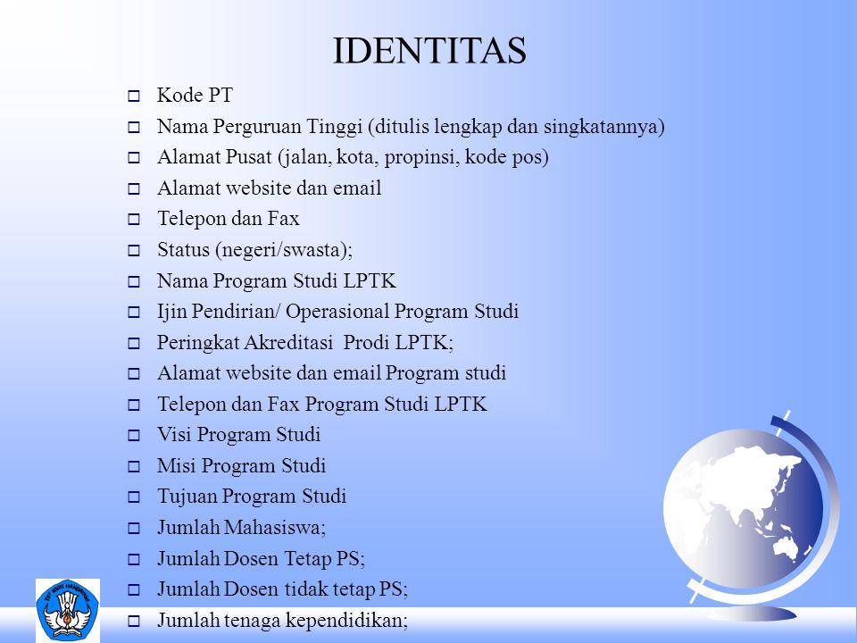 IDENTITAS Kode PT. Nama Perguruan Tinggi (ditulis lengkap dan singkatannya) Alamat Pusat (jalan, kota, propinsi, kode pos)