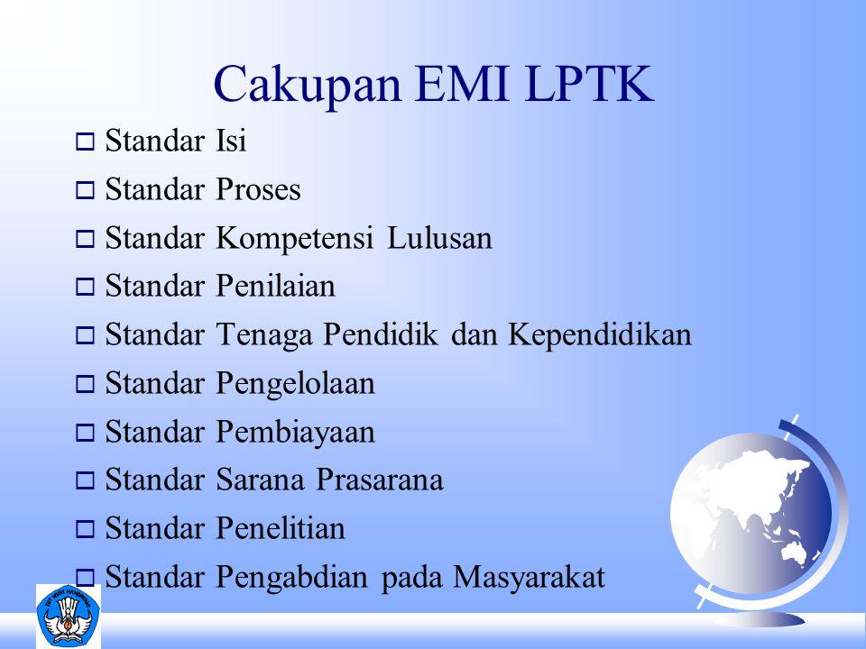 Cakupan EMI LPTK Standar Isi Standar Proses Standar Kompetensi Lulusan