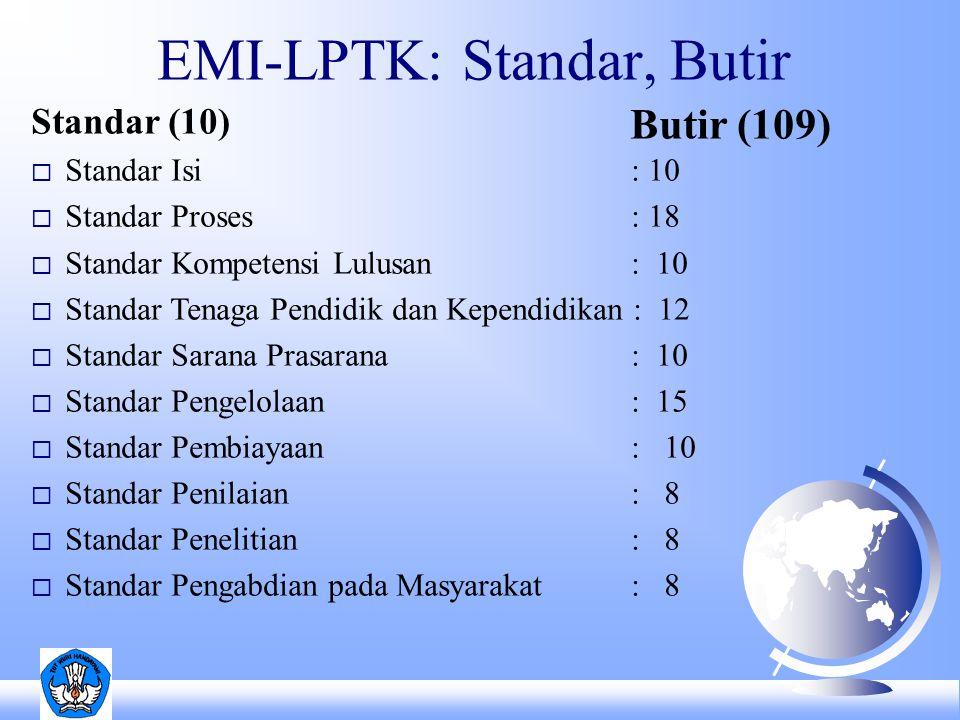 EMI-LPTK: Standar, Butir