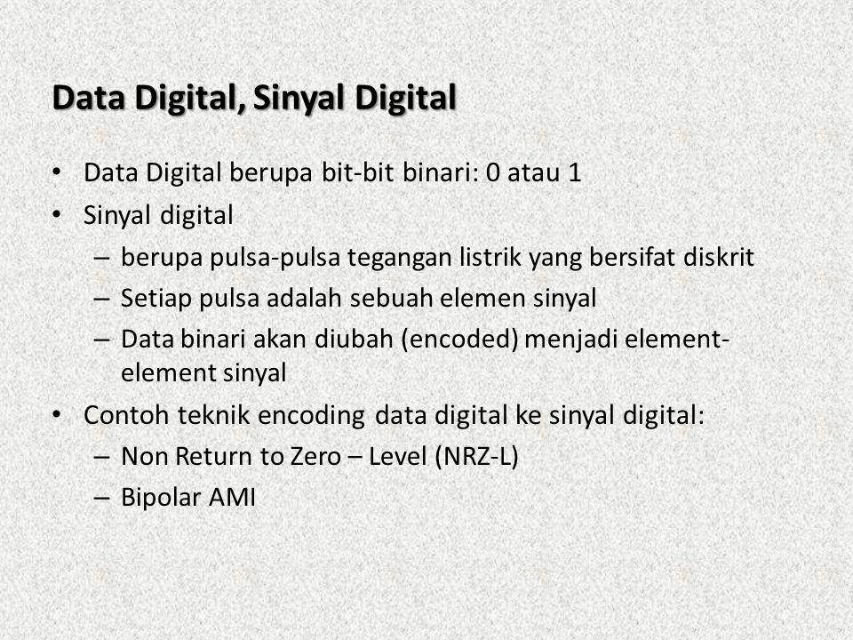Data Digital, Sinyal Digital