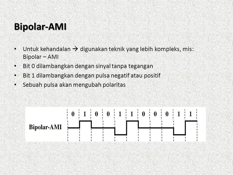 Bipolar-AMI Untuk kehandalan  digunakan teknik yang lebih kompleks, mis: Bipolar – AMI. Bit 0 dilambangkan dengan sinyal tanpa tegangan.