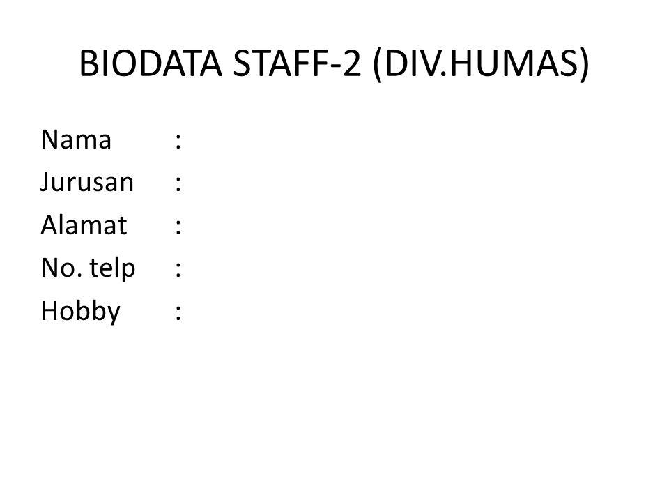 BIODATA STAFF-2 (DIV.HUMAS)