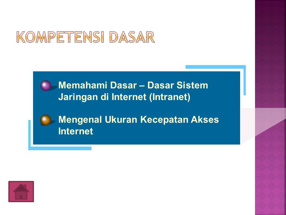 Kompetensi Dasar Memahami Dasar – Dasar Sistem Jaringan di Internet (Intranet) Mengenal Ukuran Kecepatan Akses Internet.