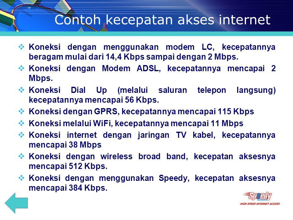 Contoh kecepatan akses internet