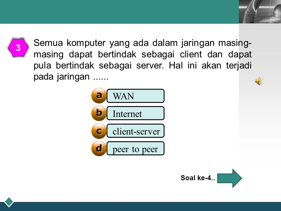 WAN Internet client-server peer to peer