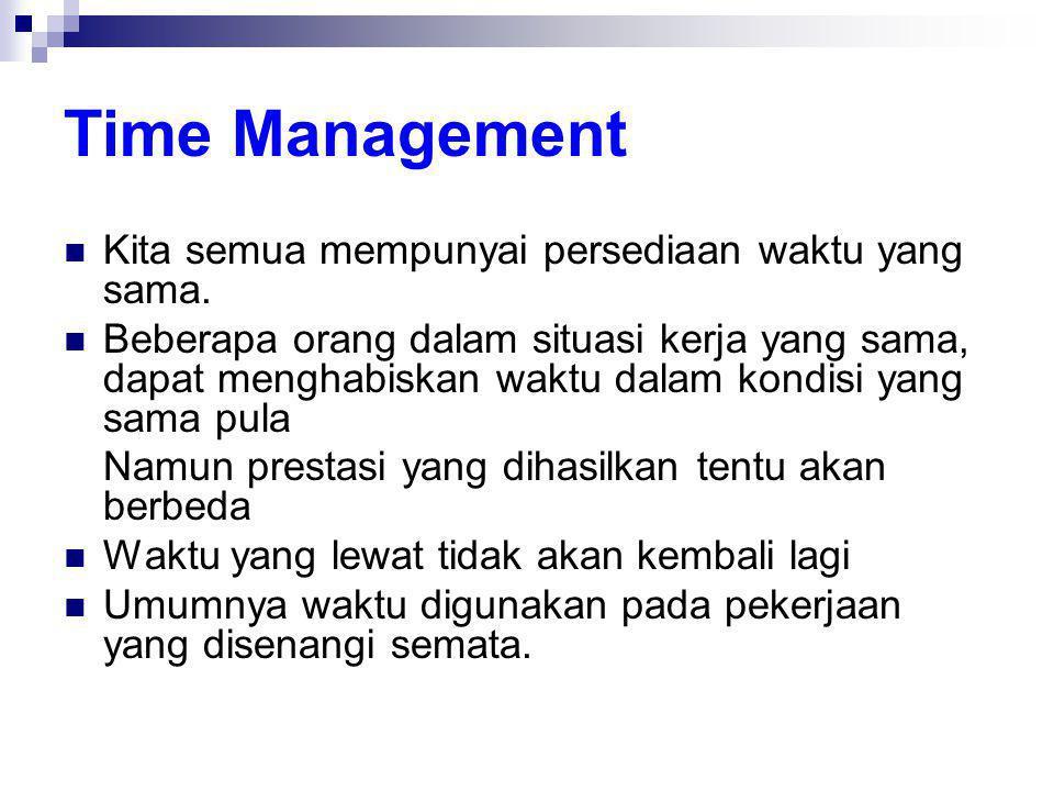 Time Management Kita semua mempunyai persediaan waktu yang sama.