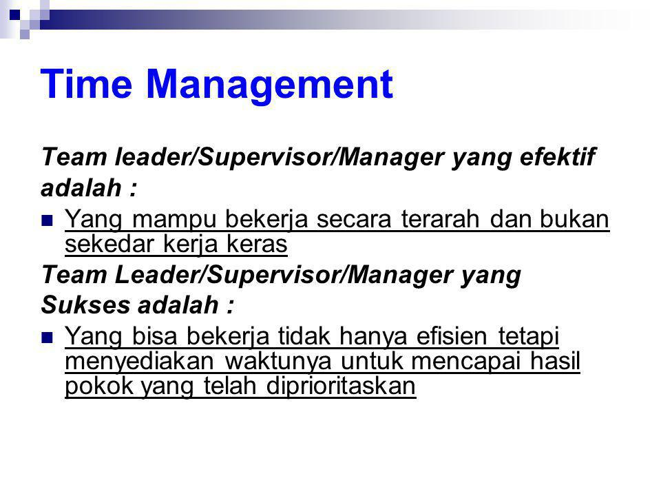 Time Management Team leader/Supervisor/Manager yang efektif adalah :