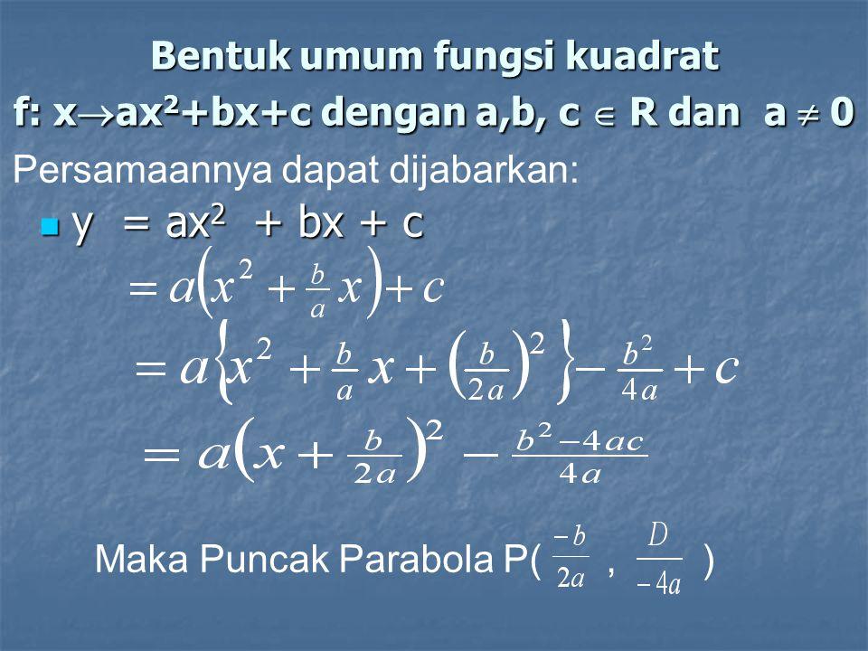 Bentuk umum fungsi kuadrat f: xax2+bx+c dengan a,b, c  R dan a  0