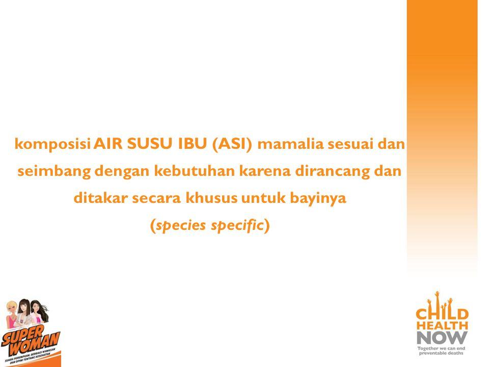 komposisi AIR SUSU IBU (ASI) mamalia sesuai dan seimbang dengan kebutuhan karena dirancang dan ditakar secara khusus untuk bayinya