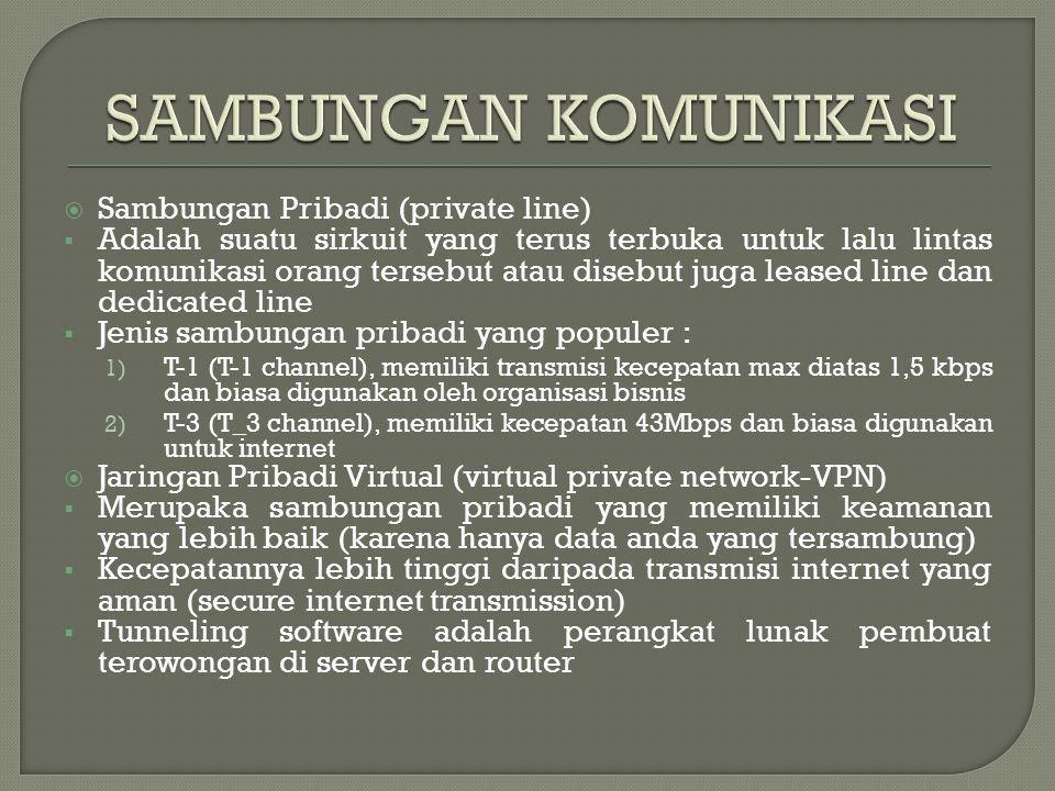 SAMBUNGAN KOMUNIKASI Sambungan Pribadi (private line)