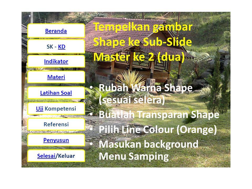 Tempelkan gambar Shape ke Sub-Slide Master ke 2 (dua)