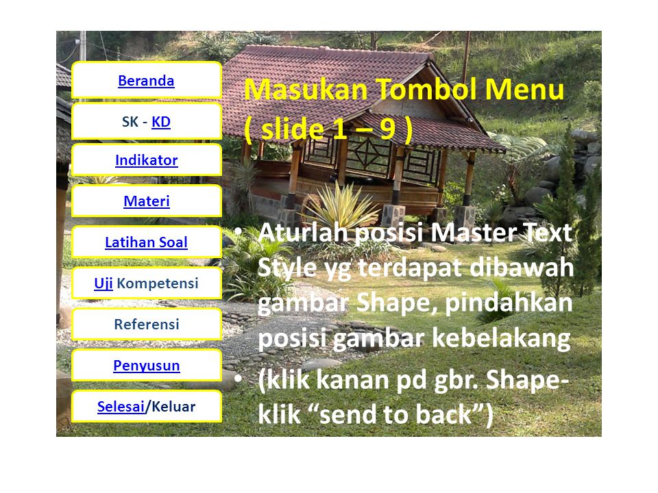 Masukan Tombol Menu ( slide 1 – 9 )
