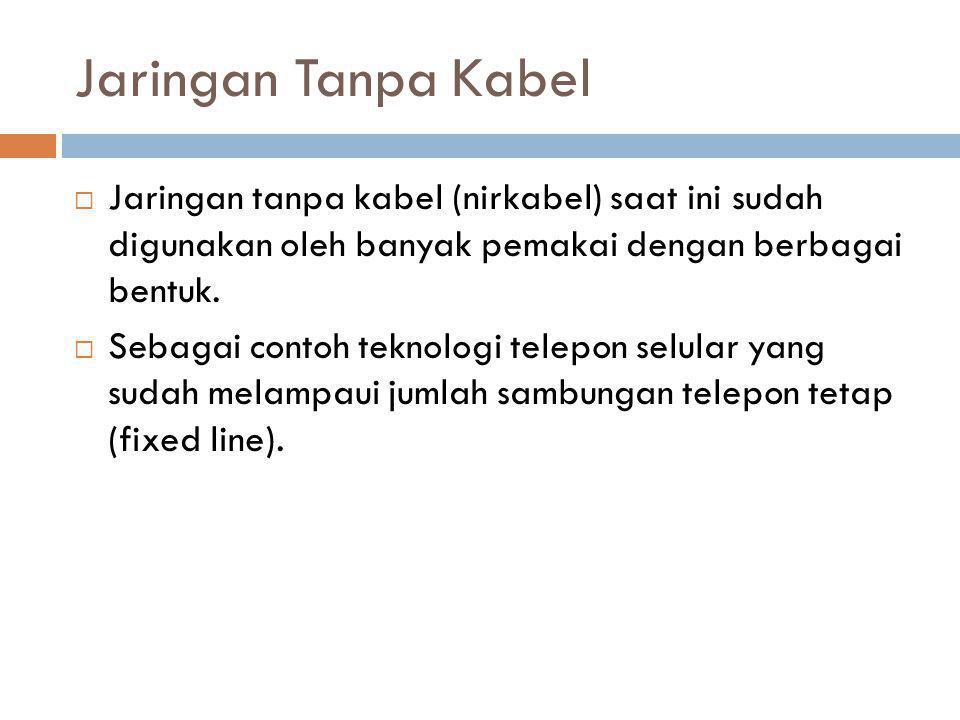 Jaringan Tanpa Kabel Jaringan tanpa kabel (nirkabel) saat ini sudah digunakan oleh banyak pemakai dengan berbagai bentuk.