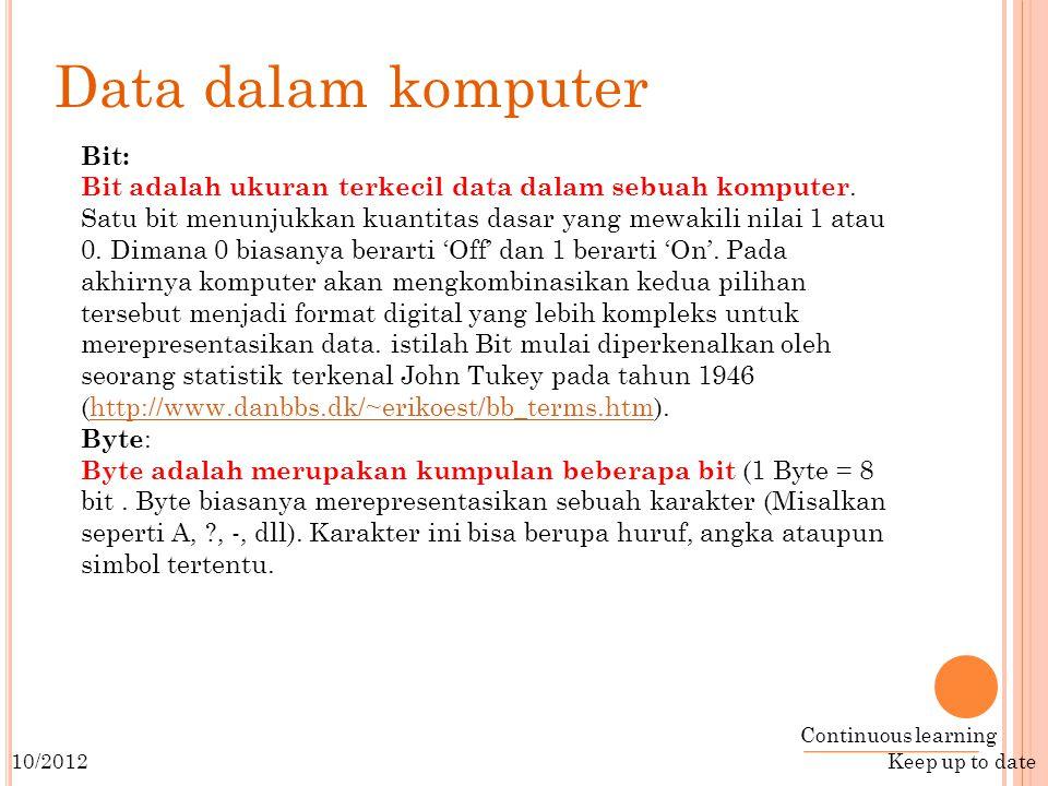 Data dalam komputer Bit: