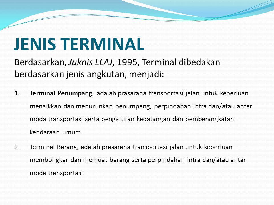 JENIS TERMINAL Berdasarkan, Juknis LLAJ, 1995, Terminal dibedakan berdasarkan jenis angkutan, menjadi: