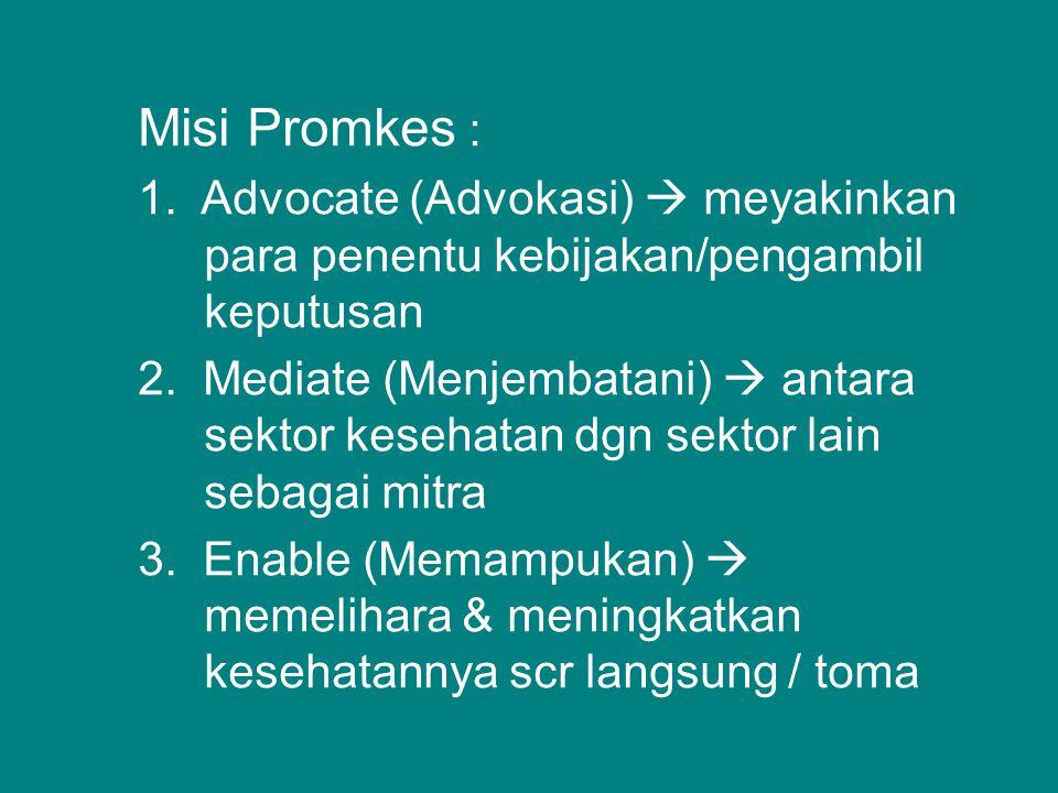 Misi Promkes : 1. Advocate (Advokasi)  meyakinkan para penentu kebijakan/pengambil keputusan.