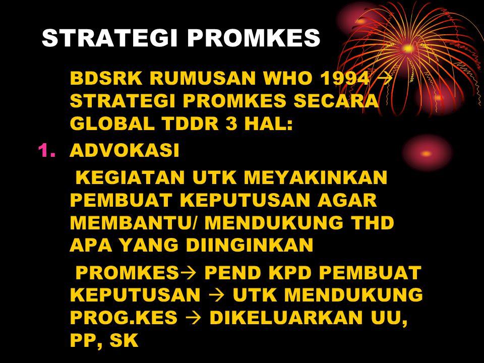 STRATEGI PROMKES BDSRK RUMUSAN WHO 1994  STRATEGI PROMKES SECARA GLOBAL TDDR 3 HAL: ADVOKASI.