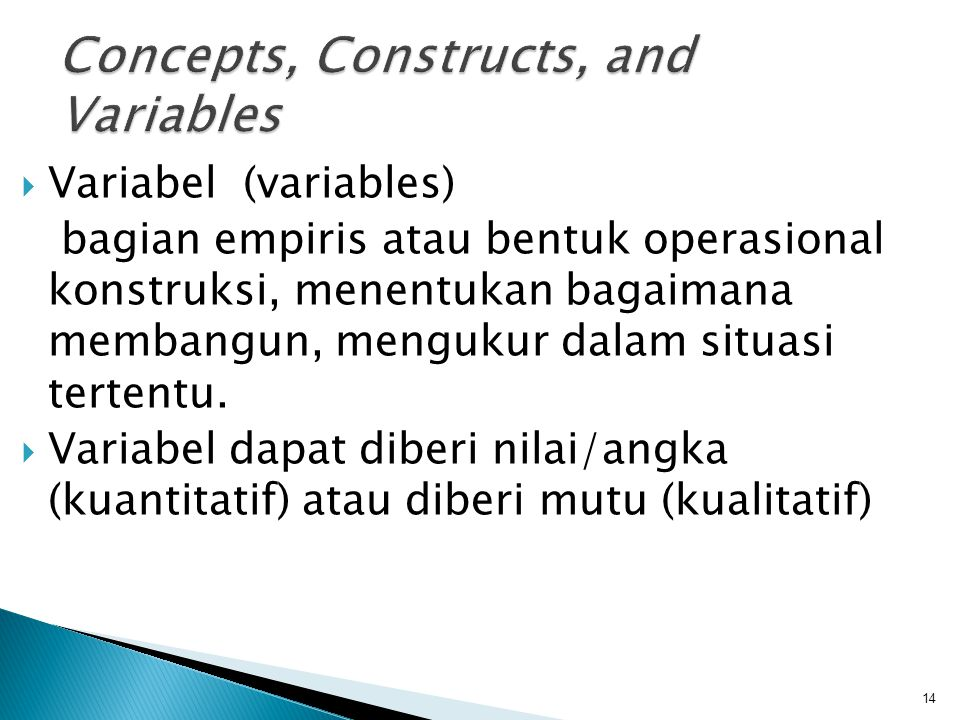 Concepts, Constructs, and Variables