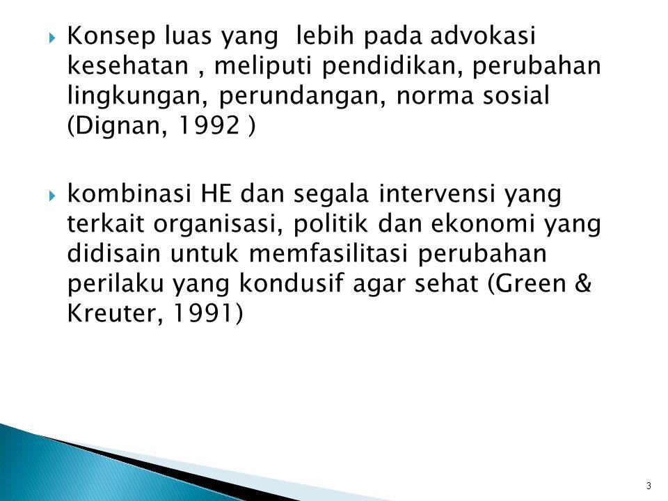 Konsep luas yang lebih pada advokasi kesehatan , meliputi pendidikan, perubahan lingkungan, perundangan, norma sosial (Dignan, 1992 )