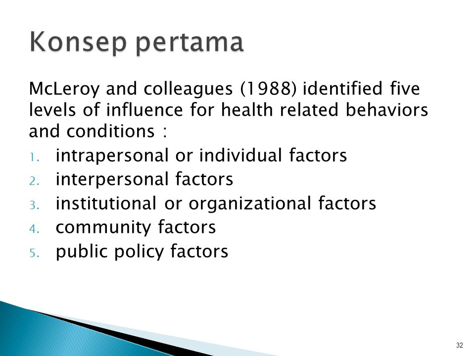 Konsep pertama McLeroy and colleagues (1988) identified five levels of influence for health related behaviors and conditions :