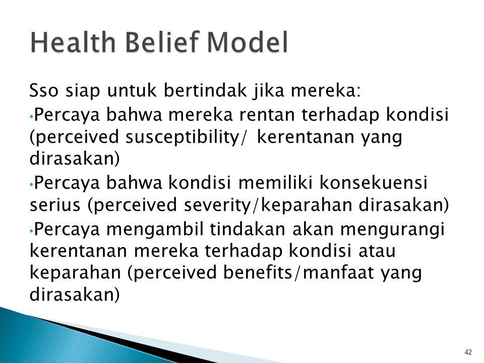 Health Belief Model Sso siap untuk bertindak jika mereka: