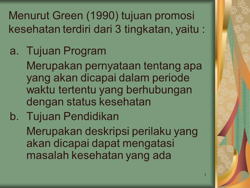 Menurut Green (1990) tujuan promosi kesehatan terdiri dari 3 tingkatan, yaitu :