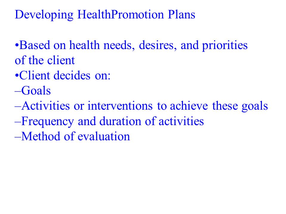 Developing HealthPromotion Plans
