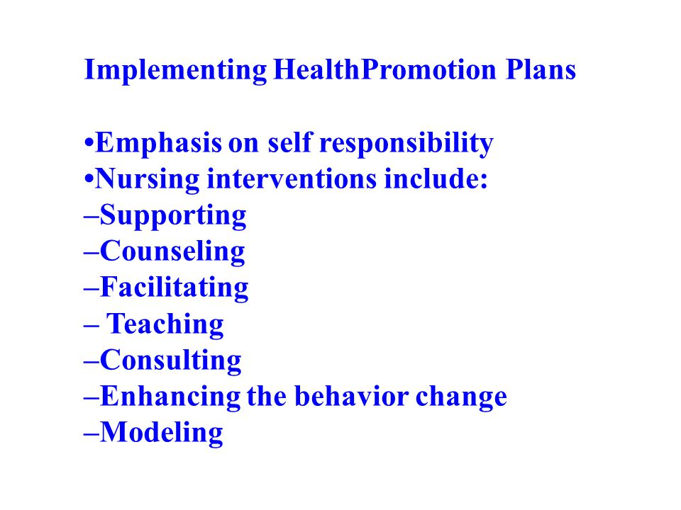 Implementing HealthPromotion Plans