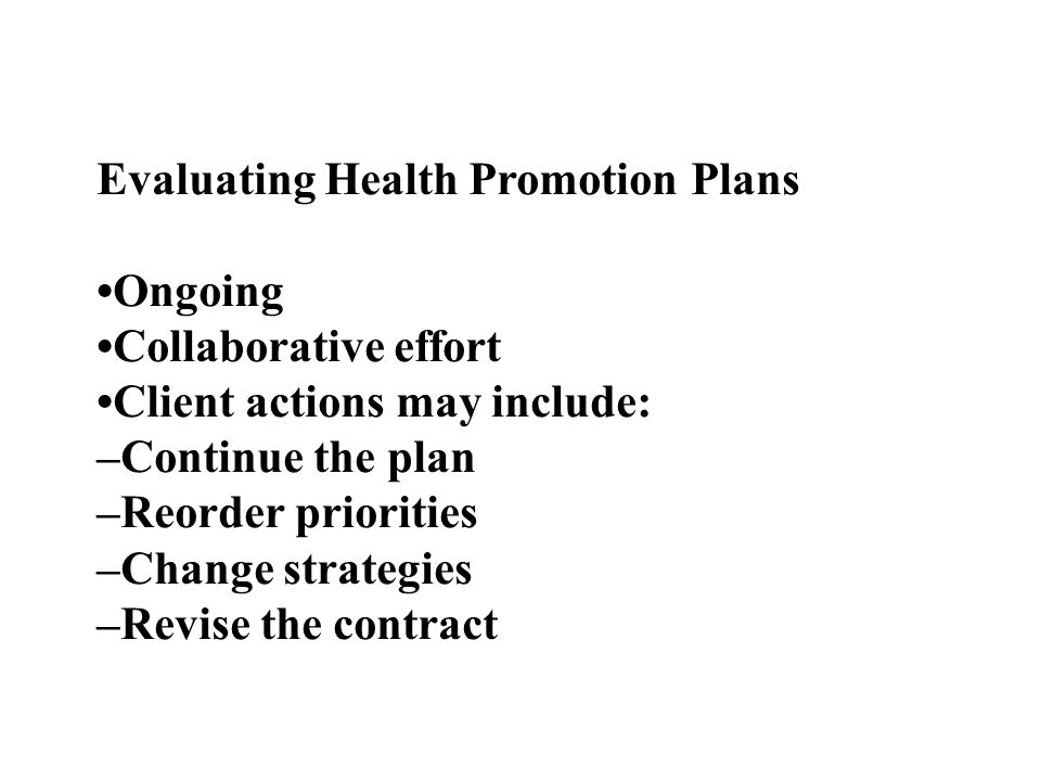 Evaluating Health Promotion Plans