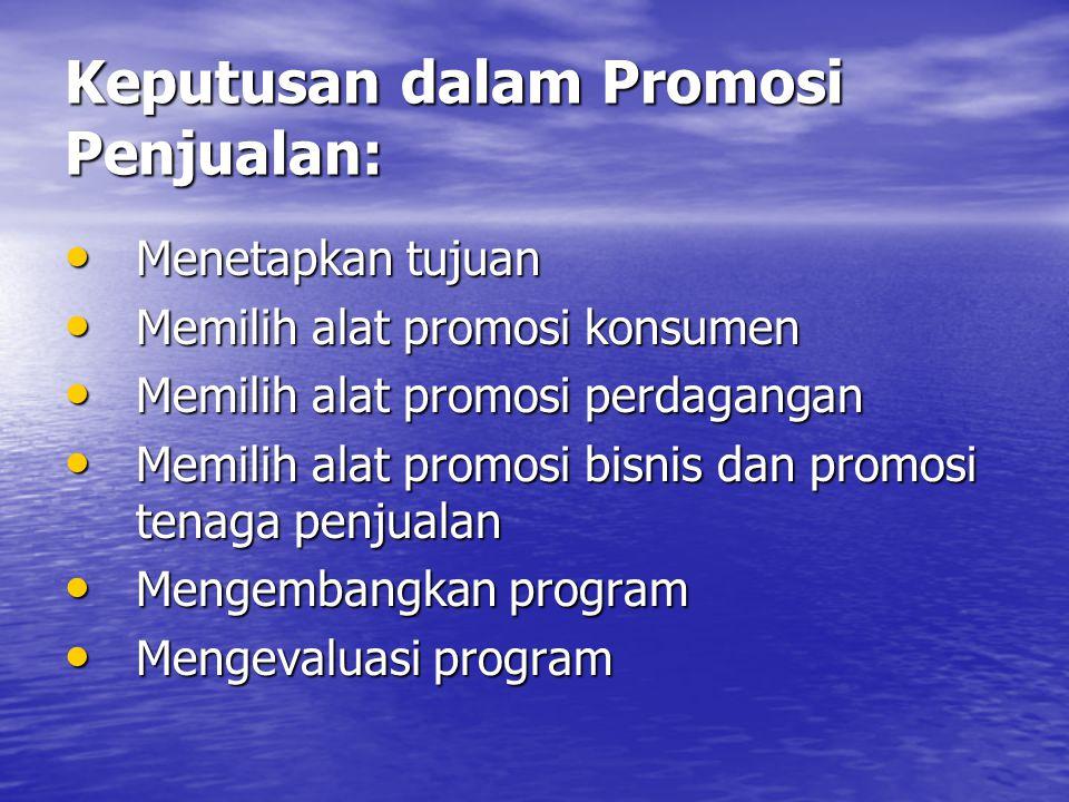 Keputusan dalam Promosi Penjualan: